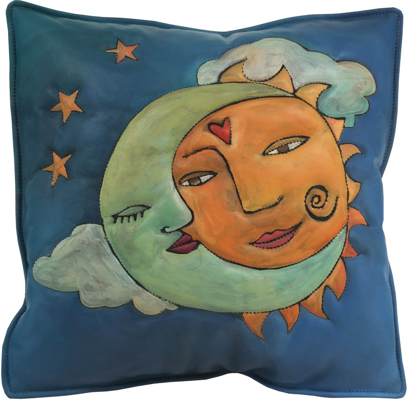 Leather Pillow –  Beautiful hand painted pillow with sun and moon lovers motif