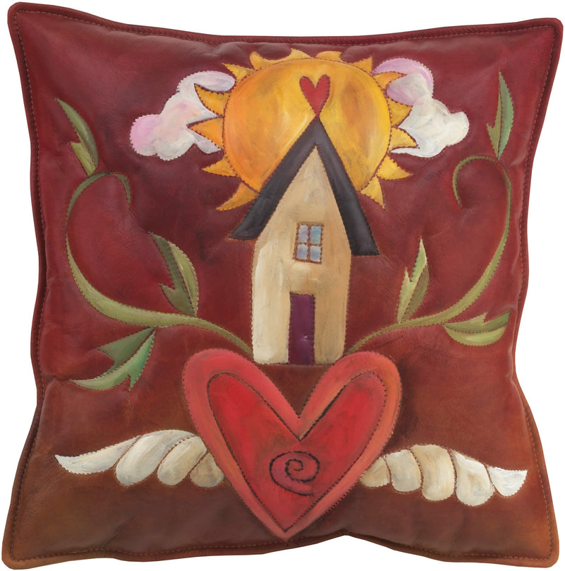 Leather Pillow –  Warm and loving pillow with heart home and sunrise
