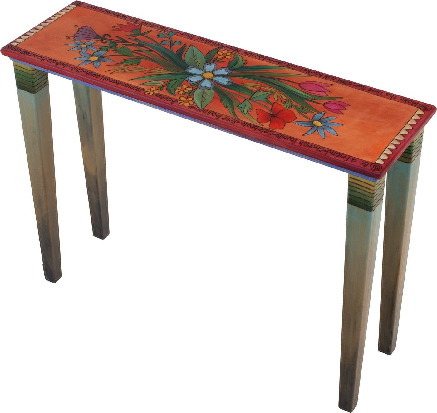 Sticks Handmade Console Table With Beautiful Floral Spray