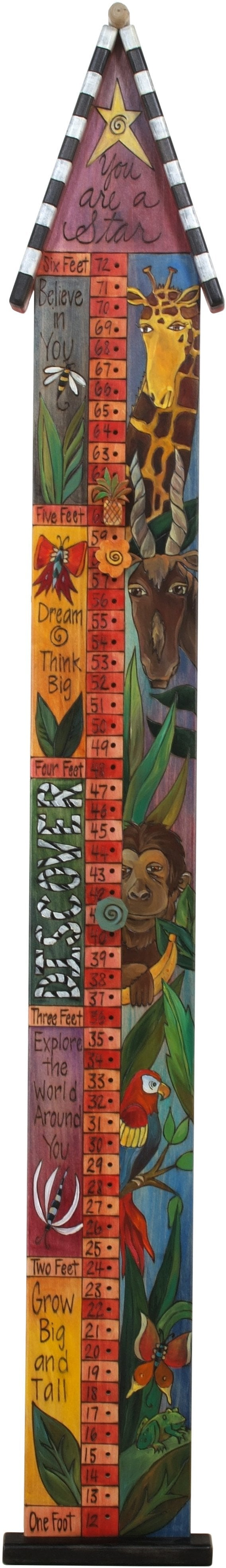 "Growth Chart with Pegs –  ""You are a Star"" growth chart with pegs with safari animal motif"