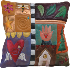 Leather Pillow –  Beautiful hand painted pillow with block icons and patterns