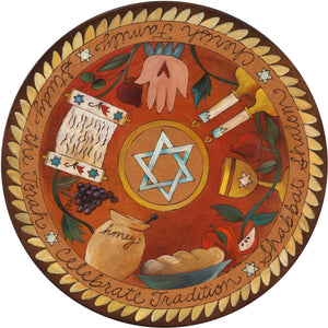 "Sticks Handmade 20""D lazy susan warm hues and star of david in the center"