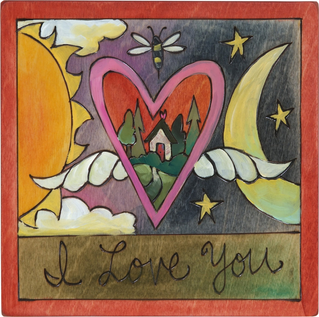 "7""x7"" Plaque –  ""I love you"" celestial motif with sun, moon, and floating heart with wings"