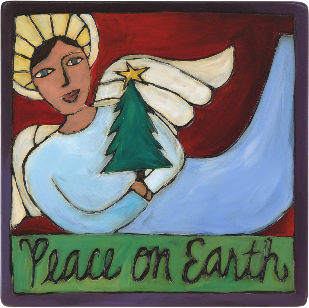 "7""x7"" Plaque –  ""Peace on Earth"" plaque with beautiful angel holding Christmas tree motif"