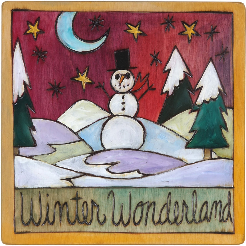"7""x7"" Plaque –  ""Winter Wonderland"" plaque with smiley snowman under the starry sky motif"