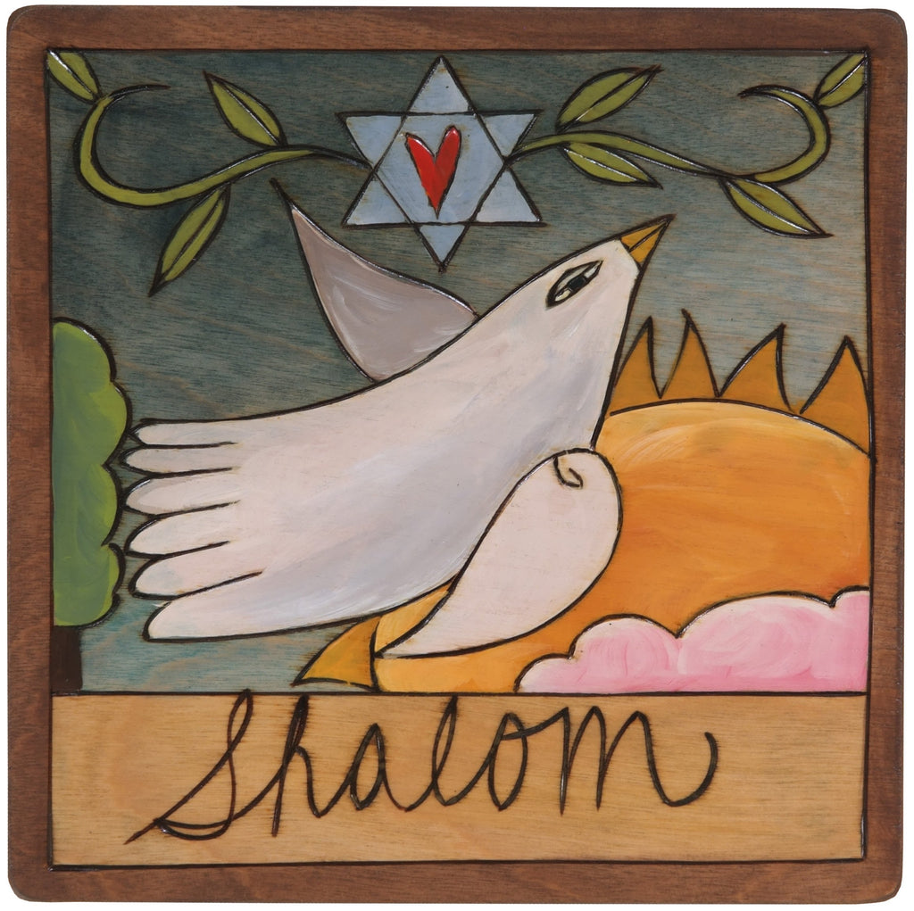 "7""x7"" Plaque –  ""Shalom"" Judaica plaque with dove and Star of David"