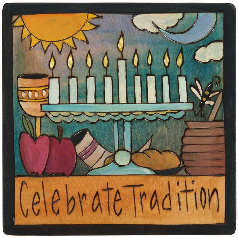 "7""x7"" Plaque –  ""Celebrate Tradition"" Judaica plaque with symbolic elements"