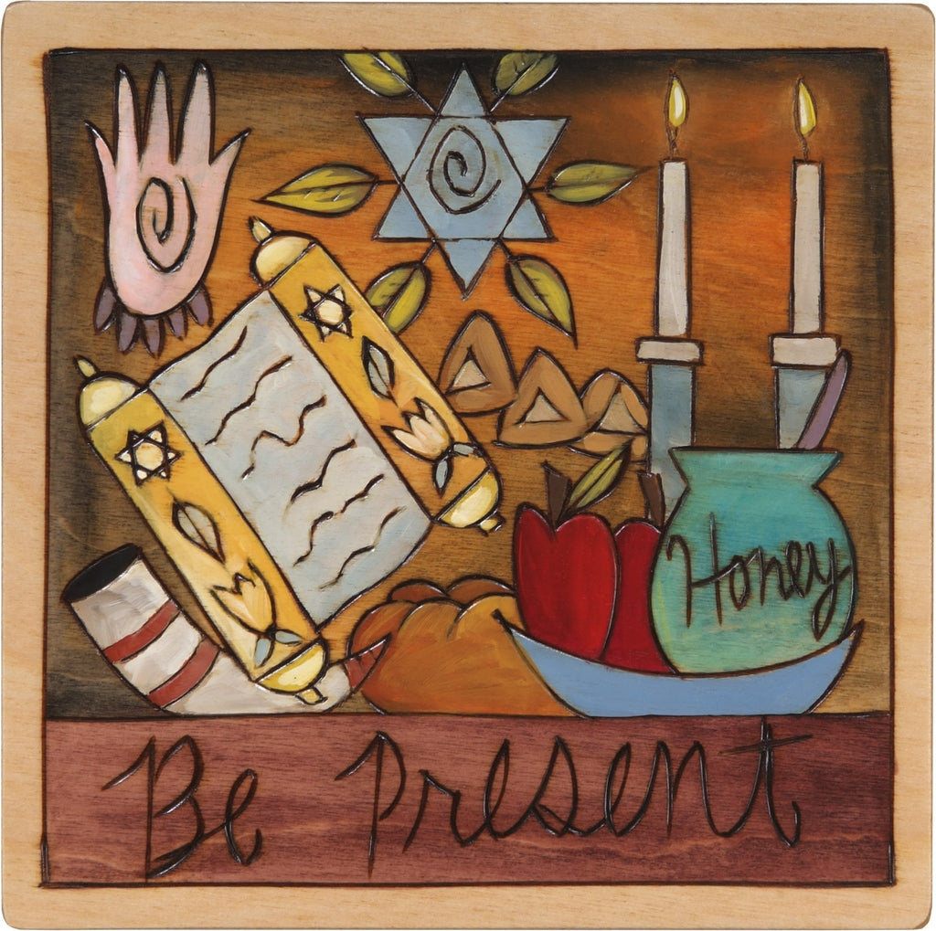 "7""x7"" Plaque –  ""Be Present"" Judaica plaque with symbolic elements"