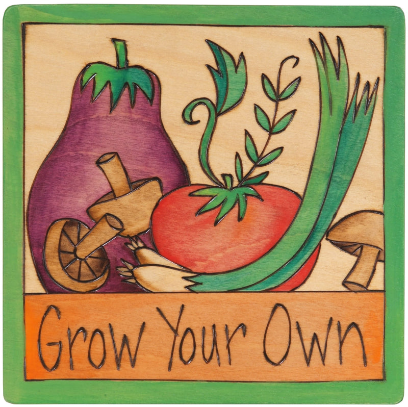 "Sticks handmade wall plaque with ""Grow Your Own"" quote and vegetables and mushrooms"