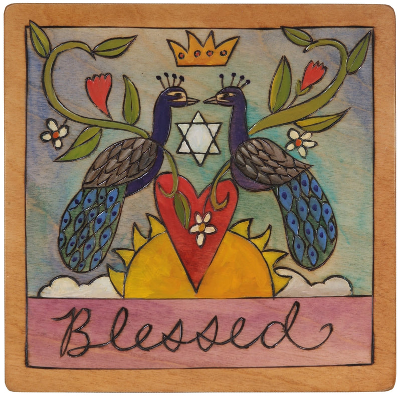 "7""x7"" Plaque –  ""Blessed"" Judaica plaque with Star of David in the center"