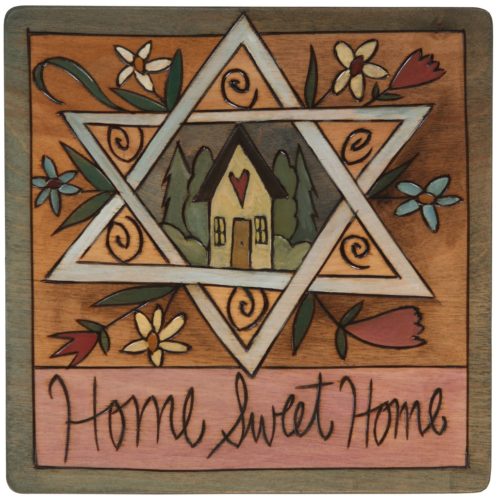 "7""x7"" Plaque –  ""Home Sweet Home"" Judaica plaque with Star of David and symbolic elements"