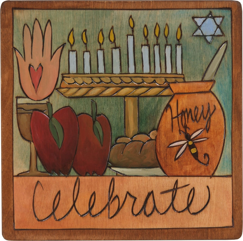 "7""x7"" Plaque –  ""Celebrate"" Judaica plaque with banquet motif"
