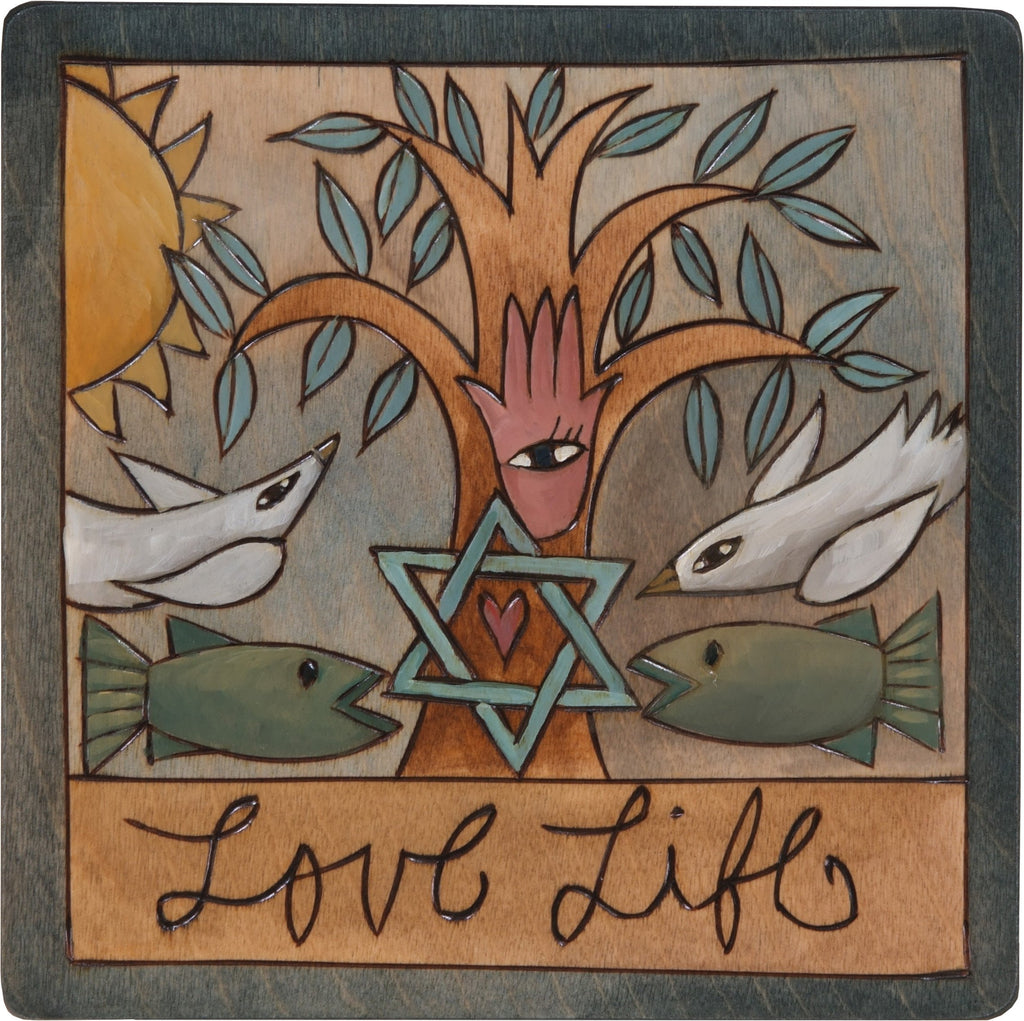"7""x7"" Plaque –  ""Love Life"" Judaica plaque with symbolic imagery"
