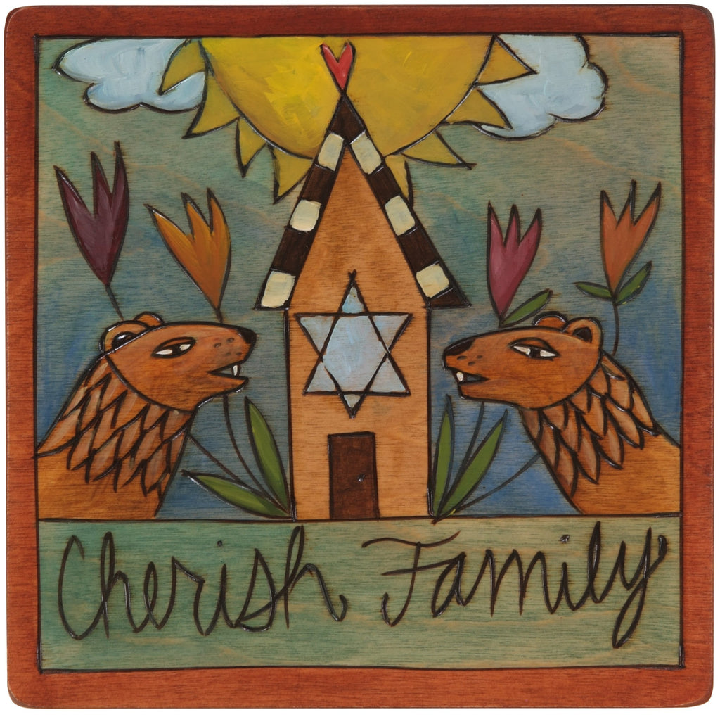 "7""x7"" Plaque –  ""Cherish Family"" hamsa heart home Judaica plaque with lions and flowers"