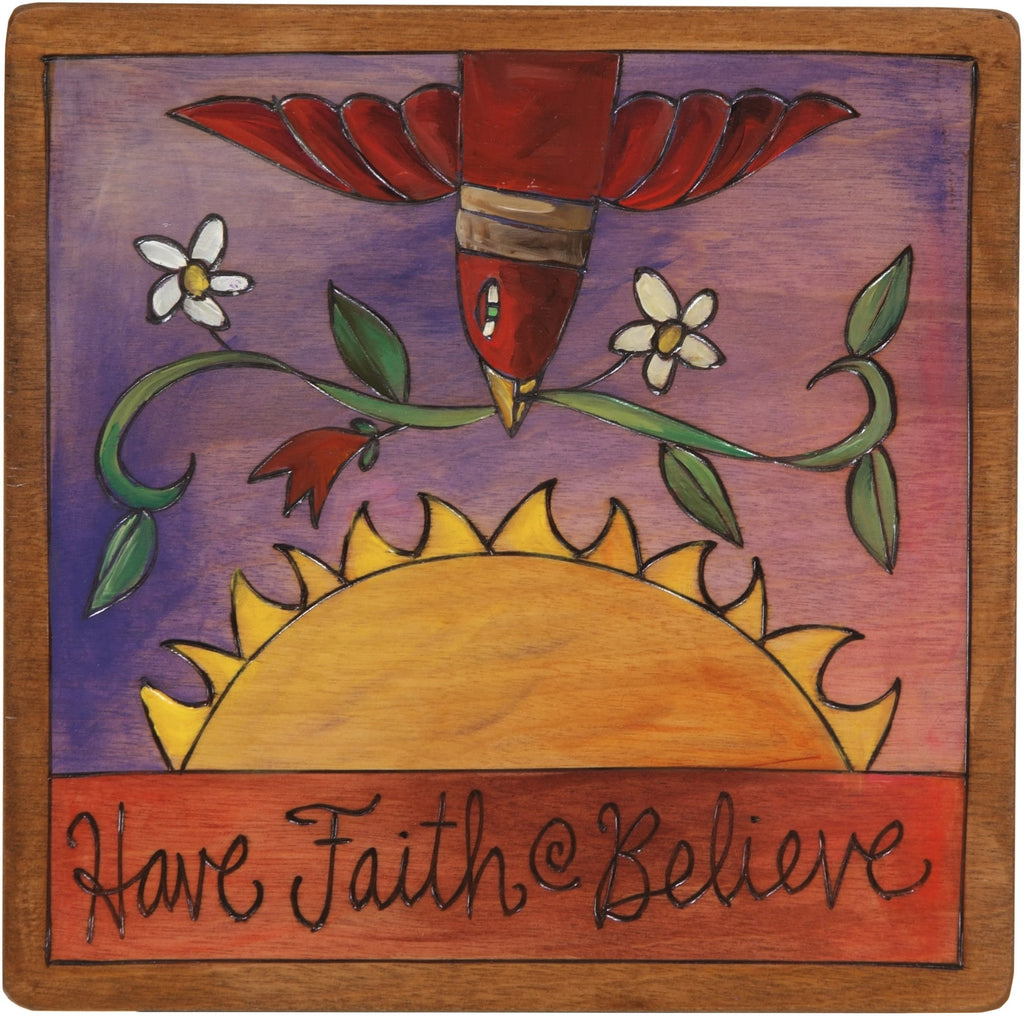 "Sticks handmade wall plaque with ""Have Faith - Believe"" quote and bird with floral vine imagery"