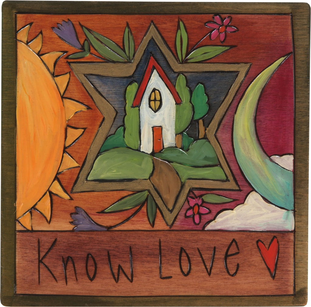 "7""x7"" Plaque –  ""Know Love"" Judaica plaque with sun and moon motif"