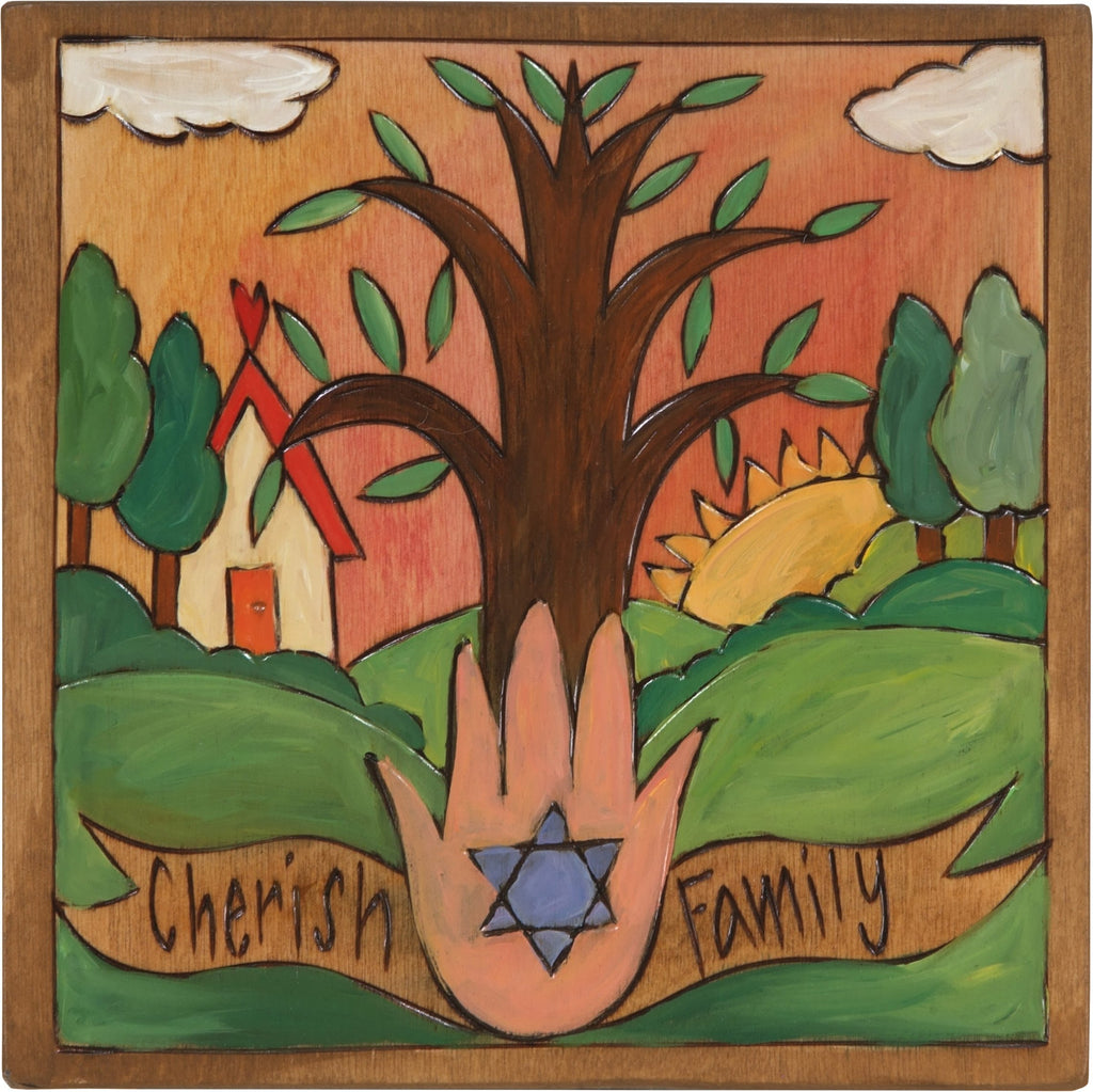 "7""x7"" Plaque –  ""Cherish Family"" Judaica plaque with tree of life"