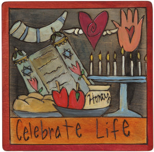 "7""x7"" Plaque –  ""Celebrate Life"" Judaica plaque with symbolic elements"