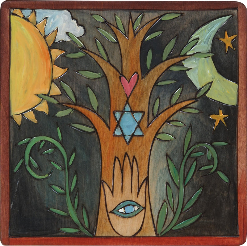 "7""x7"" Plaque –  Tree of Life Judaica plaque with symbolic elements"