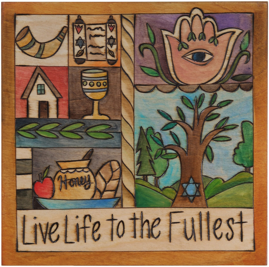 "10""x10"" Plaque –  ""Live Life to the Fullest"" Judaica plaque with Tree of Life and block symbols and patterns"