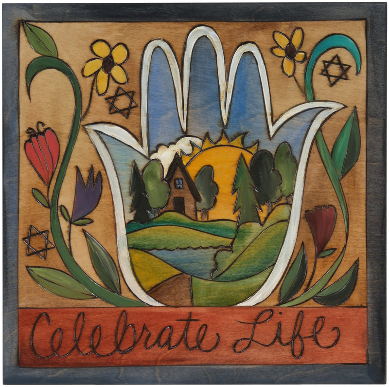 "10""x10"" Plaque –  ""Celebrate Life"" lovely Judaica plaque with landscape hamsa and floral motifs"