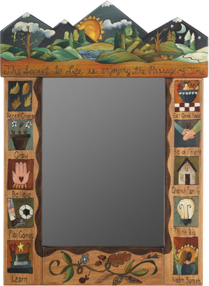 "Medium Mirror –  ""The Secret to Life is Enjoying the Passage of Time"" mirror with sunset on the mountains motif"