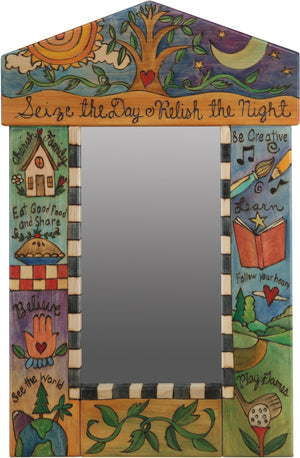"Small Mirror –  ""Seize the Day/Relish the Night"" mirror with sunny day and starry night over the tree of life motif"