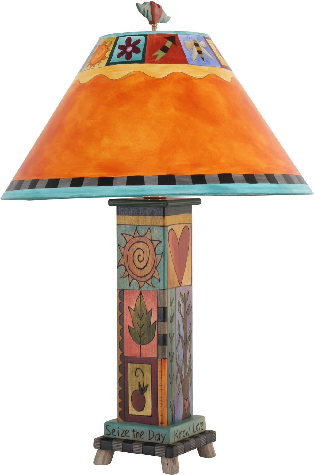 Box Table Lamp –  Contemporary and eclectic table lamp with colorful elements and block icons