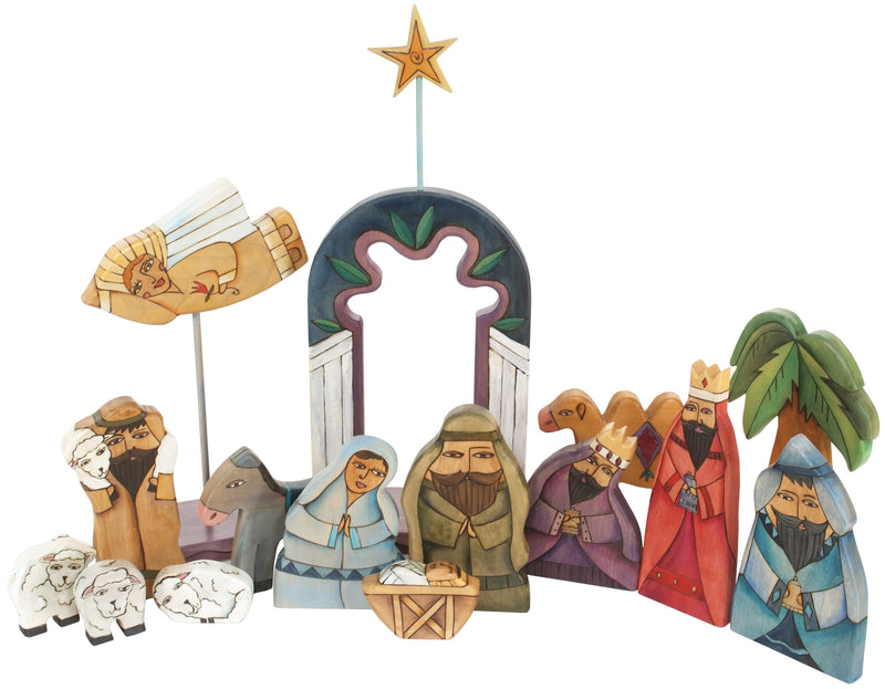 Large Nativity –  Large Nativity with dark blue accents