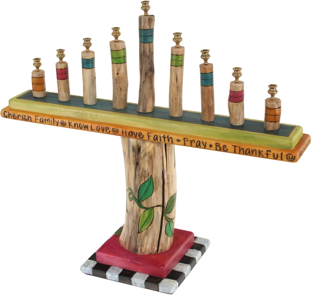 Log Menorah –  Elegant wooden birch menorah with colorful accents