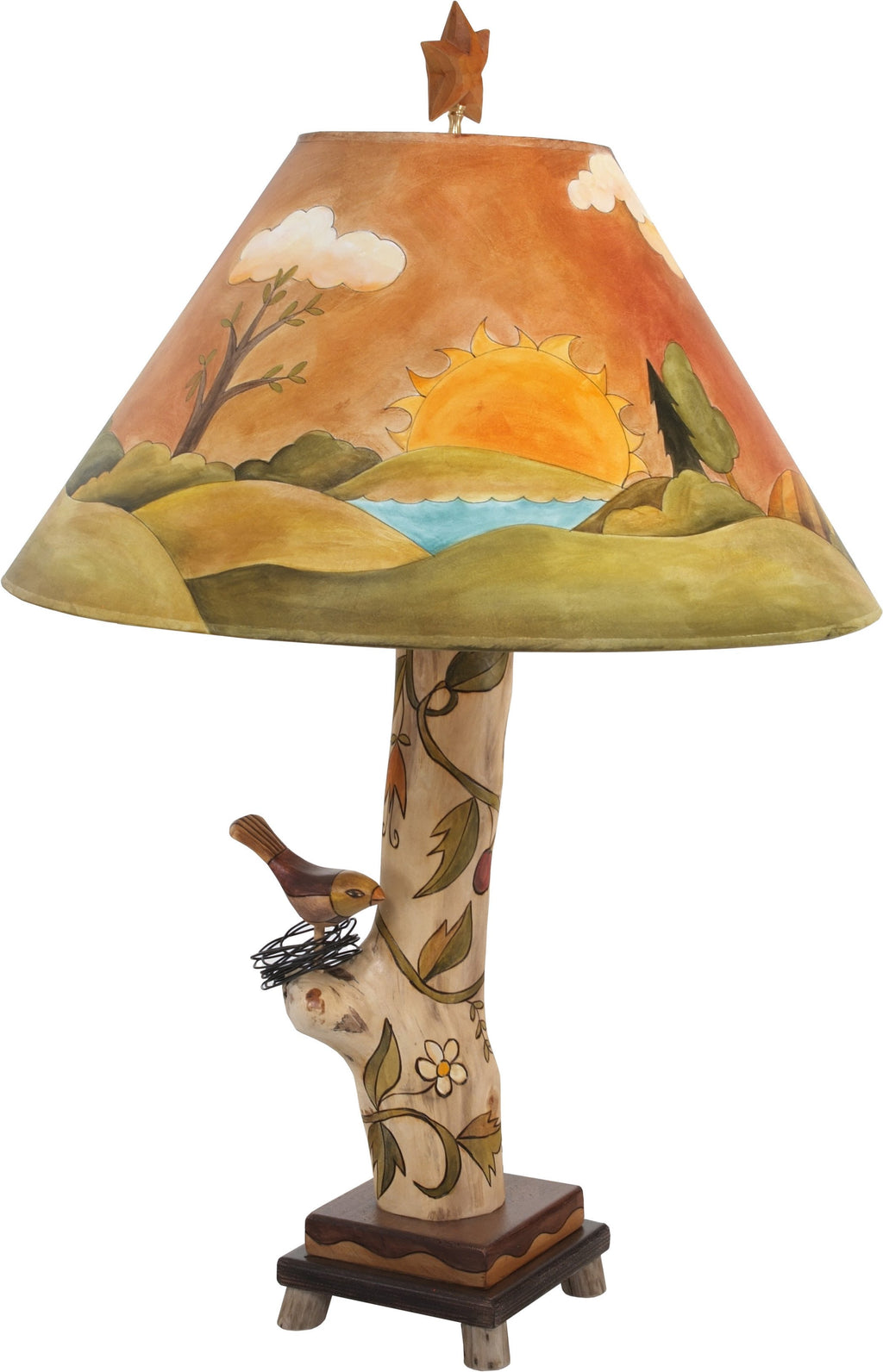 Log Table Lamp –  Hand painted landscape table lamp with vine motifs and bird