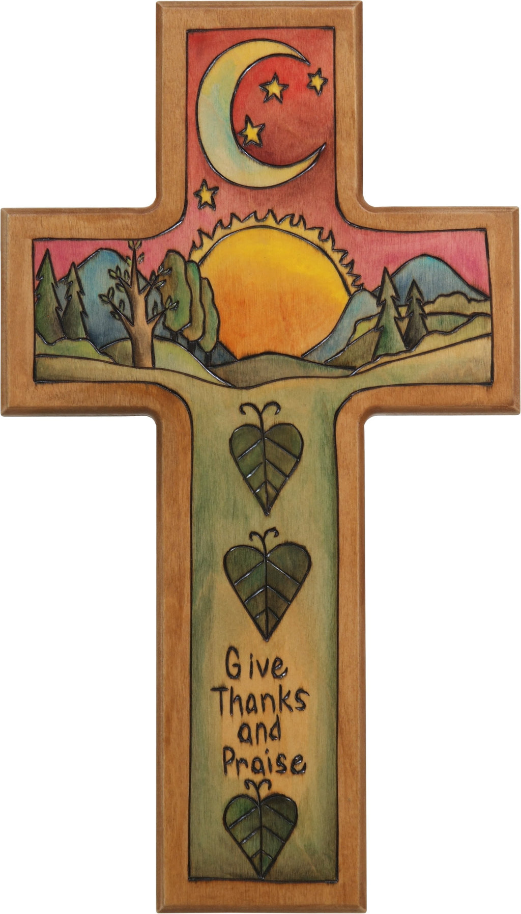 Cross Plaque –  Give Thanks and Praise cross plaque with sun and moon over the horizon motif
