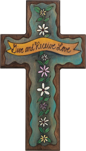 Cross Plaque –  Give and Receive Love cross plaque with blue themed floral motif