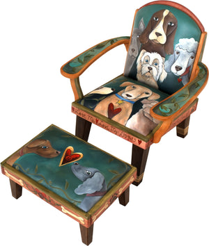 "Friedrich's Chair and Matching Ottoman –  ""A House is not a Home without a Dog"" Friedrich's chair with ottoman with dogs motif"