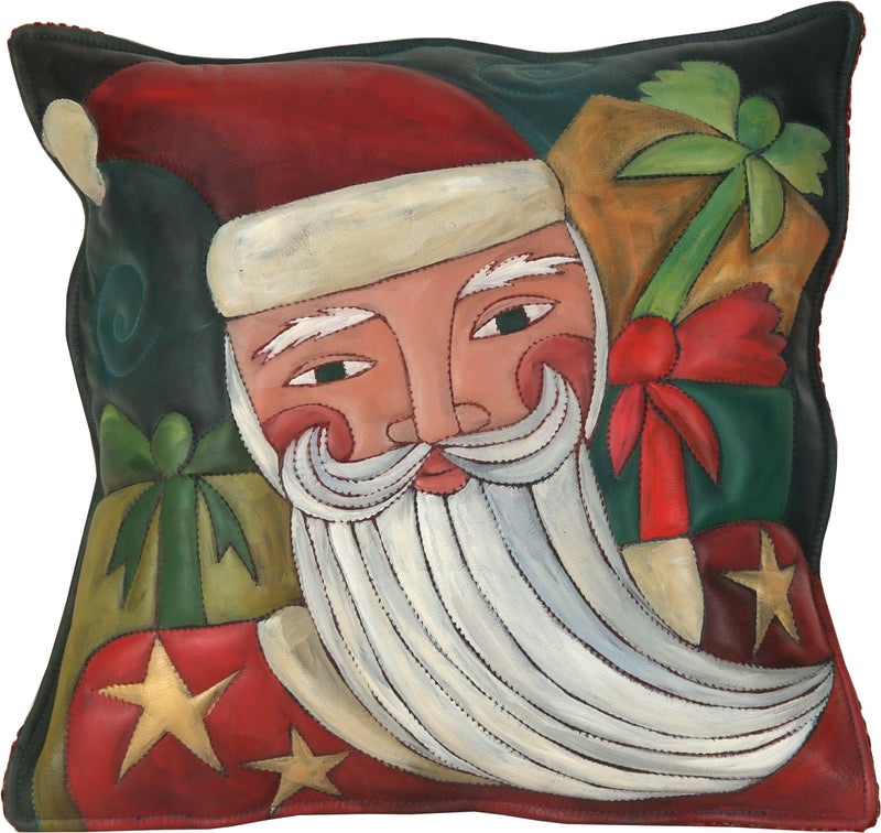 Leather Pillow –  Santa pillow with presents painted in brilliant greens and reds