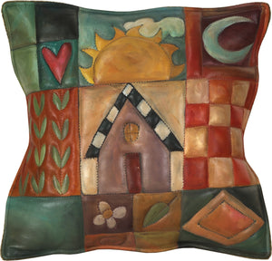 Leather Pillow –  Color block pillow with symbolic icons and patterns