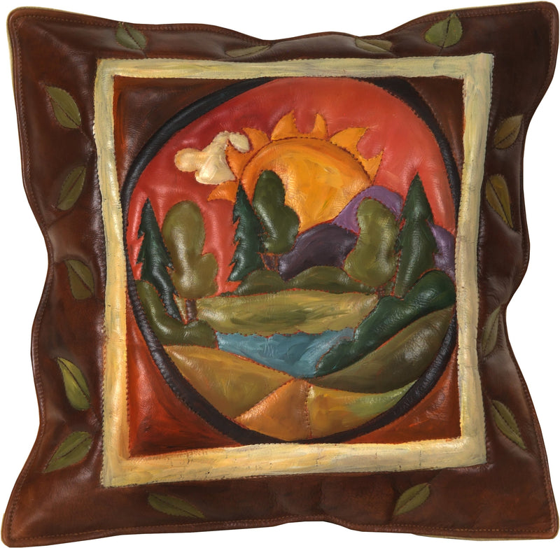 Leather Pillow –  Hand painted and stitched leather pillow with landscape and sunrise over a mountain