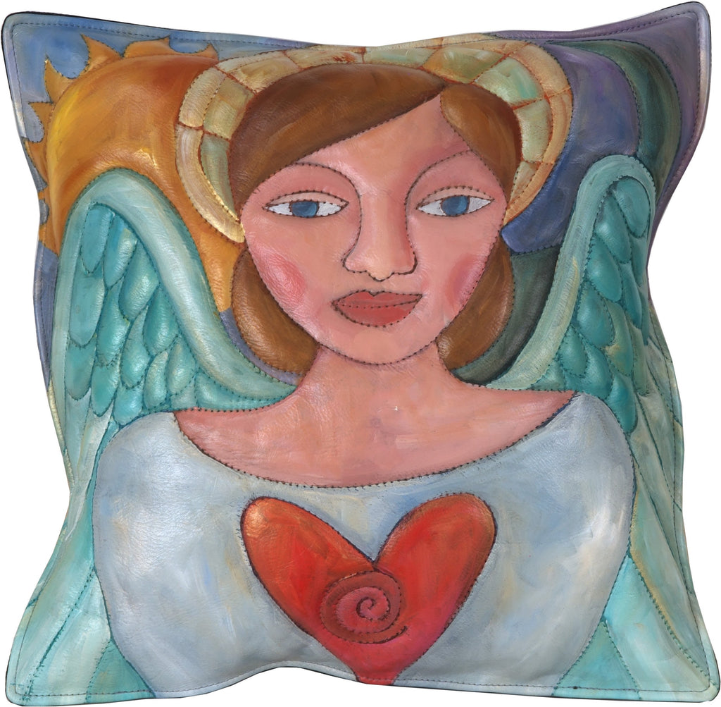 Leather Pillow –  Pretty holiday pillow with angel of love
