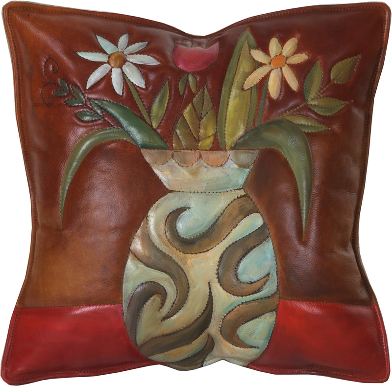 Leather Pillow –  Vase pillow with floral motif and rich, warm hues