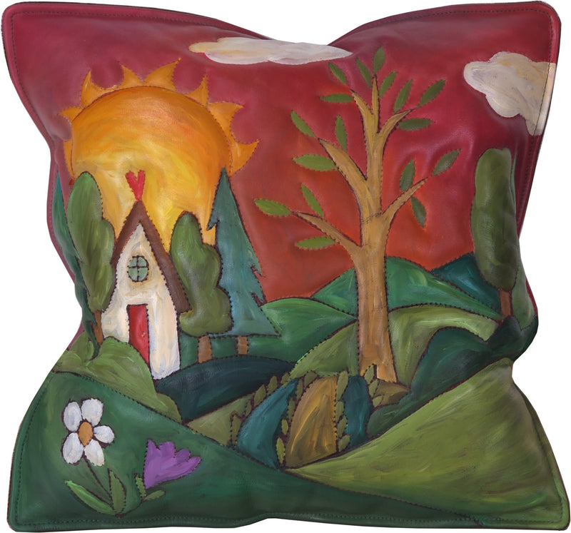 Leather Pillow –  Landscape pillow with rolling hills, sunrise, heart home and tree of life