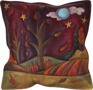 Leather Pillow –  Fall landscape pillow painted in rich and warm hues
