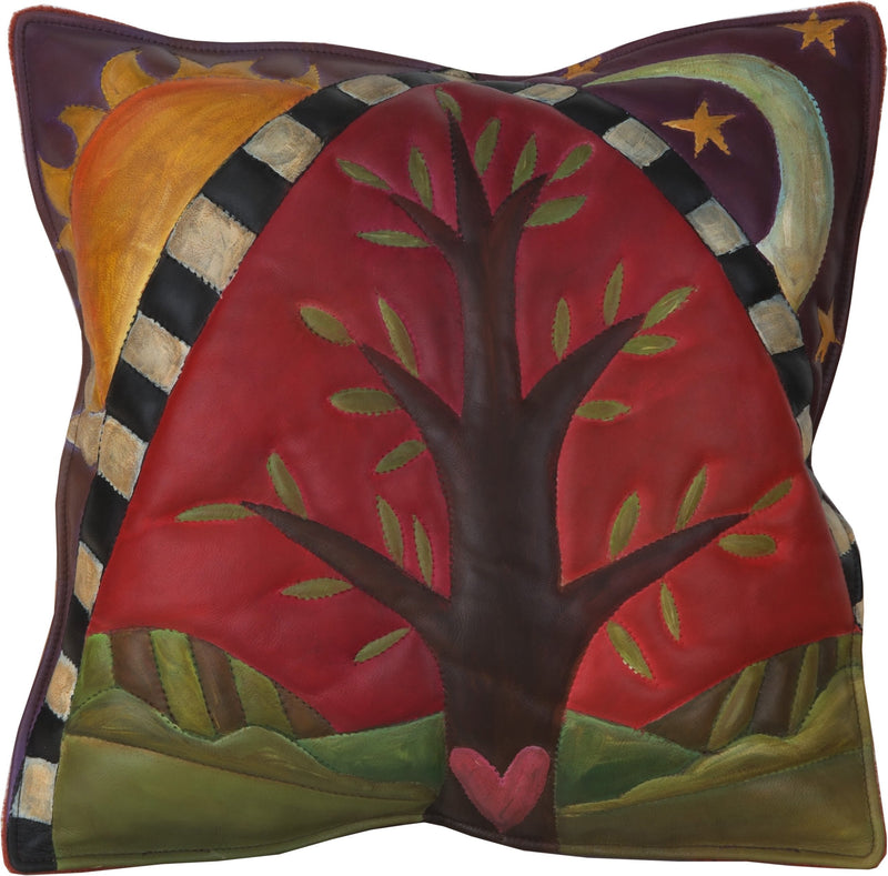 Leather Pillow –  Tree of life pillow with sun and moon motif