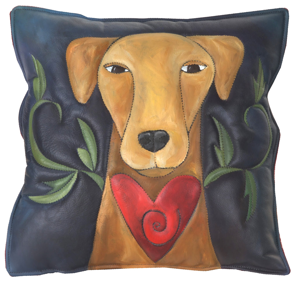 Leather Pillow –  Dog pillow with a heart and vine motif