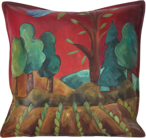Leather Pillow –  Hand painted landscape pillow with growing crops and rich hues