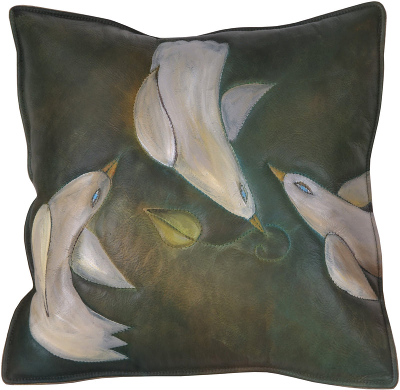 Leather Pillow –  Elegant pillow with hand stitching and lovely doves