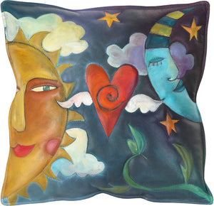Leather Pillow –  Hand stitched and painted pillow with sun and moon lovers motif