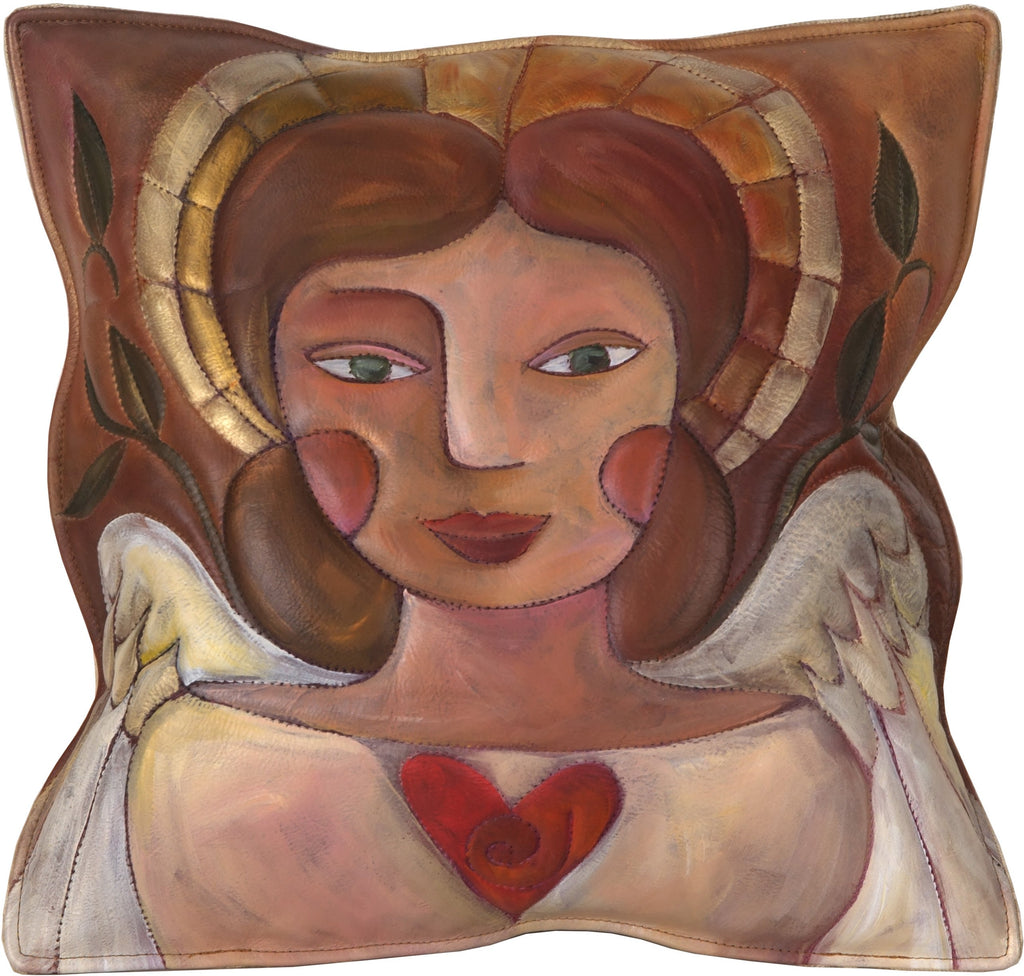 Leather Pillow –  Beautiful hand painted and stitched pillow with loving angel