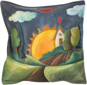 Leather Pillow –  Beautiful landscape theme pillow with heart home and sunrise