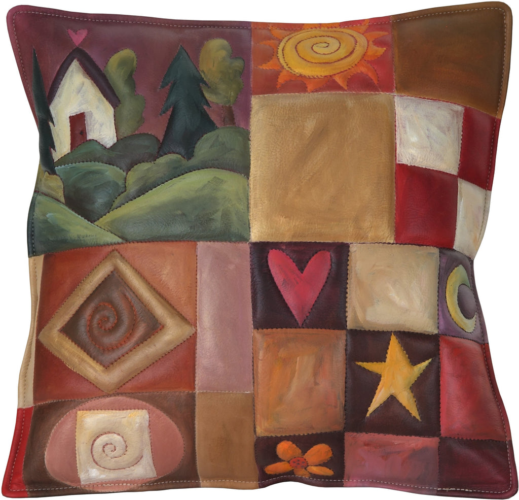 Leather Pillow –  Beautiful hand painted pillow with landscape and colorful block icons