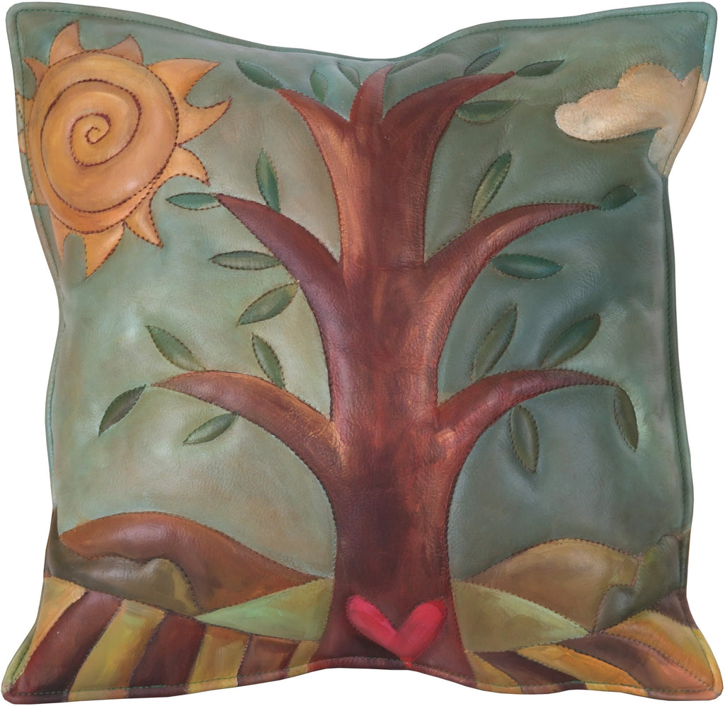 Leather Pillow –  Tree of life pillow with landscape and sun motif